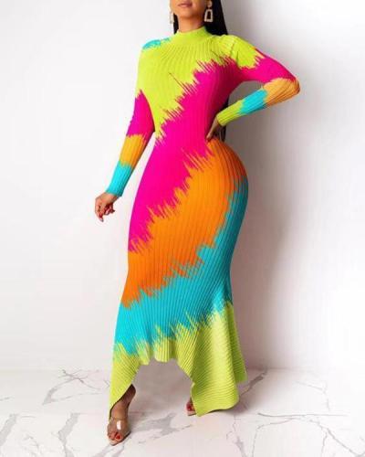 Plus Size Long Sleeve Floor-Length Fall Asymmetrical Dress