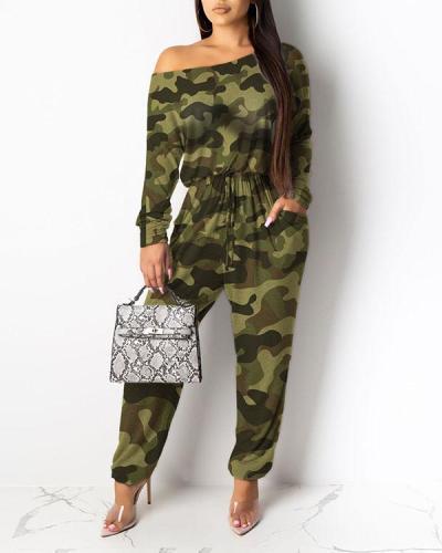 Loose Diagonal Shoulder Printed Jumpsuit