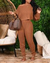 Pure Color Bat Sleeve Sweater Two-piece Suit