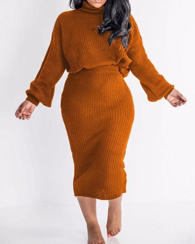 Sexy High Neck Skirt Two-piece Suit