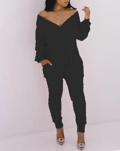 Zip V-neck Fashion Jumpsuit