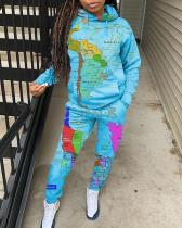 Map Print Pocket Drawstring Dtrap Hooded Sports Two-piece Suit