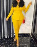 Pure Color Waist Silmming Two-piece Suit