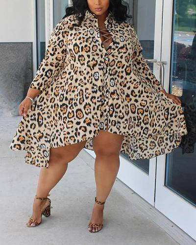 Leopard Print Knee Length Plus Size Dress