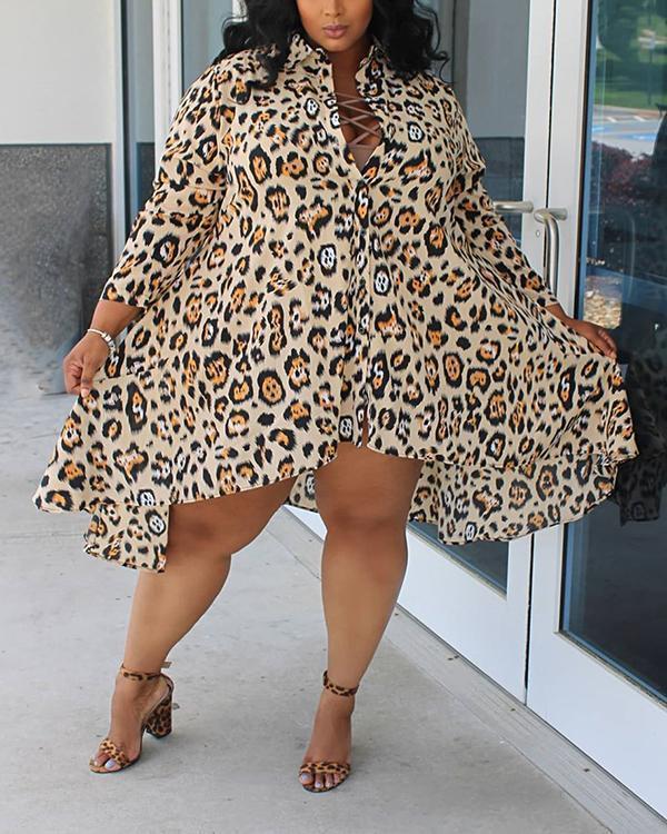 Leopard Print Knee Length Plus Size Dress