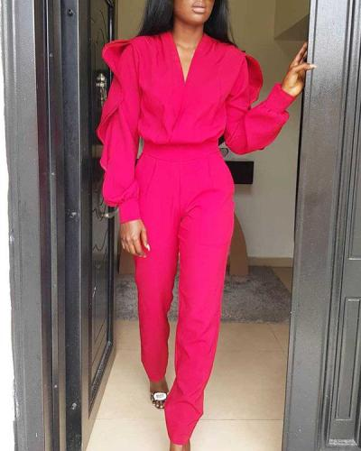 Casual Ruffled Long-sleeved Jumpsuit