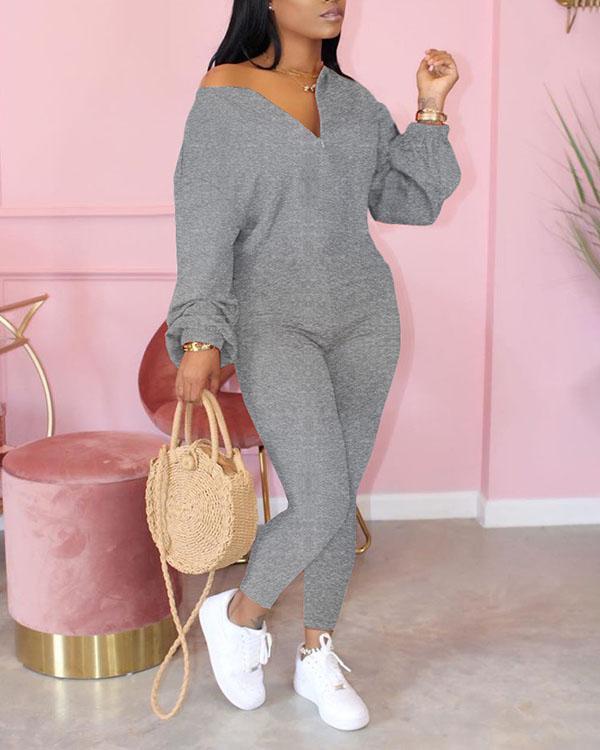 Pure Color Sloping Shoulder Fashion Casual Jumpsuit