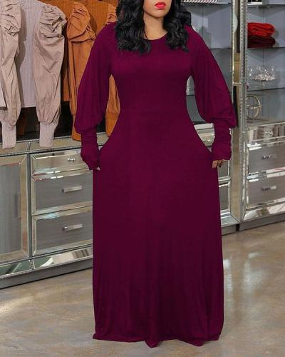 Lantern Sleeve Solid Color Maxi Dress