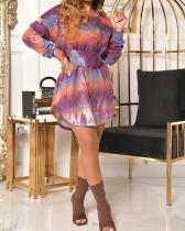 Plus Size Tie Dye Mini Dress With Belt
