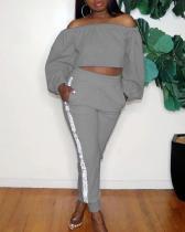 Solid Color Off Shoulder Long Sleeve Two-piece Suit