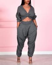 V Neck Knot Design Grey Plus Size Two-piece Pants Set