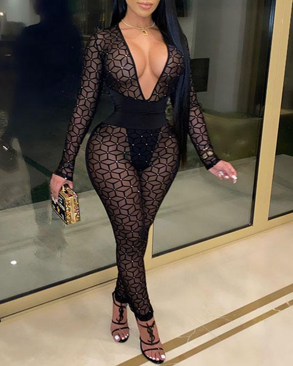 Sexy Mesh See-through Slim Long-sleeved Jumpsuit