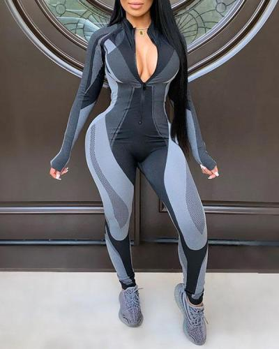 Slim Sexy Yoga Sports Long Sleeve Jumpsuit