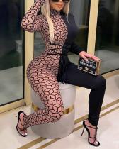 Sexy Mesh Slim Long-sleeved Jumpsuit