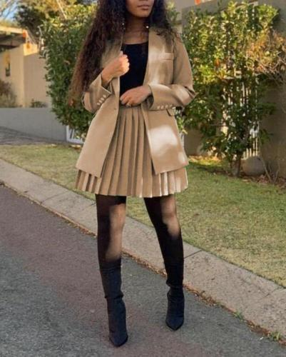 Pure Color Double-breasted Long-sleeved Blazer Pleated Skirt Suit