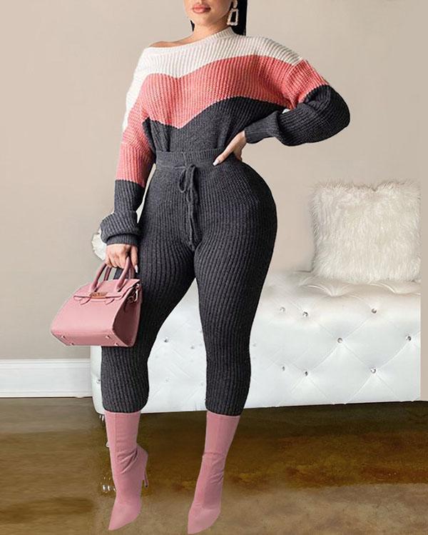 Contrast Lace Sweater Suit