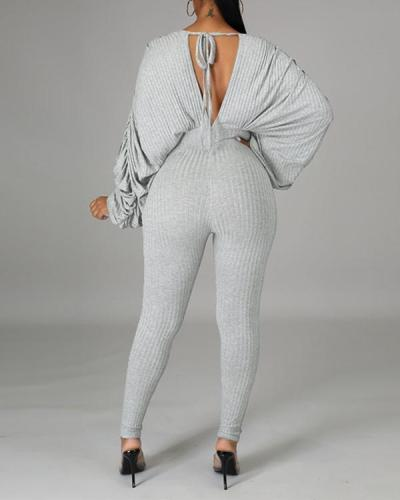 Batwing Sleeve V Neck Open Back Jumpsuit