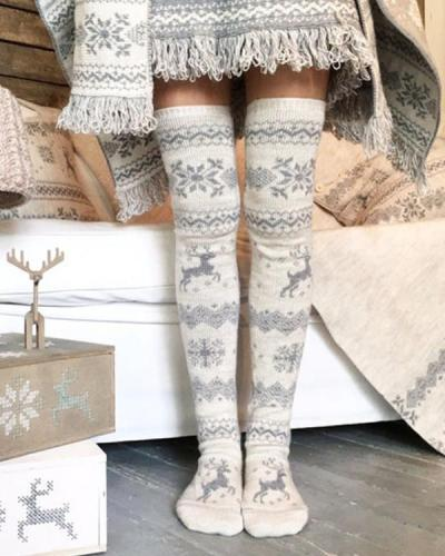 Over Knee Christmas snowflakes Warm Socks