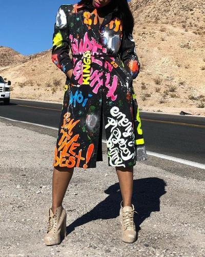 Wide Lapel Graffiti Print Lace-Up Coat