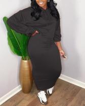 Solid Color Hooded Skirt Set