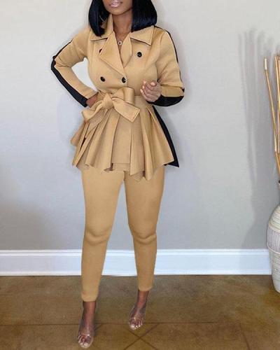 Pure Color Thick Hip Skirt Jacket Pants Casual Suit