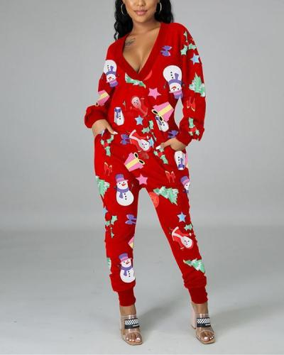 Christmas Fashion Sexy Deep V Pocket Print Jumpsuit