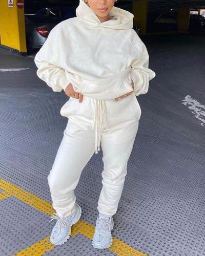 Long Sleeve Hooded Two-piece Set