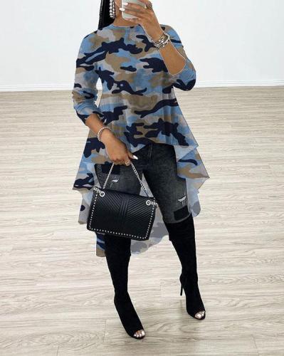 Fashion Camo Leopard Print Irregular Hem T-shirt Tops