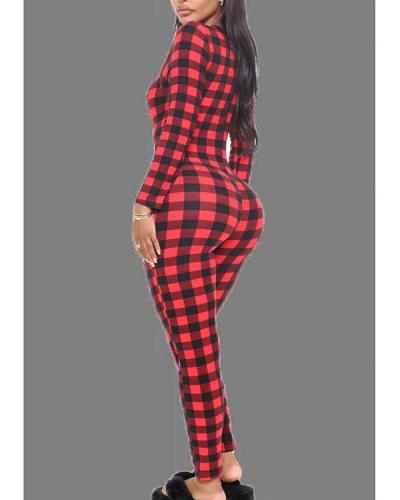 Red Living Plaid V Neck Skinny Jumpsuits