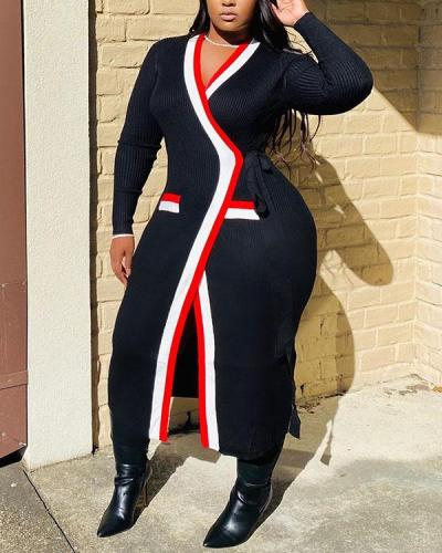 Contrast-Trim Wrapped Dress Coat