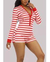 Sexy Striped V Neck Skinny Romper
