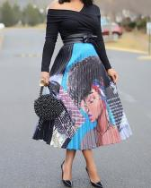 Fancy Printed Pleated Skirt
