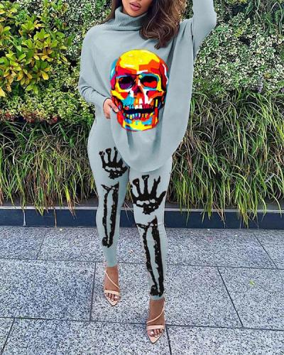 Casual Skull Print Bat Sleeve Split Tops & Trousers Two-piece Suit