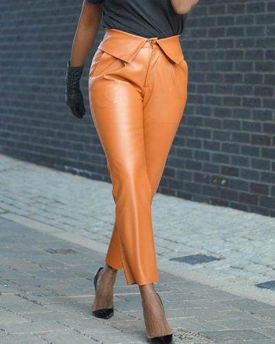 Pu Leather High Waist Pants