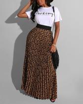 Leopard Print Pleated Skirt Suit T-shirt Two-piece Suit
