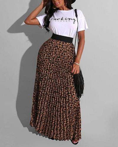 Leopard Print Pleated Skirt Suit T-shirt Two-piece Suit