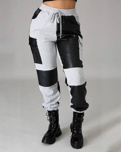 PU Patchwork Pocket Drawstring Waist Pants