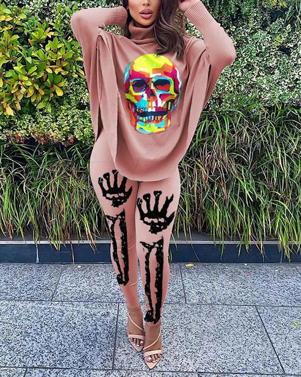 Casual Skull Print Bat Sleeve Split Tops & Trousers Two-piece Suit