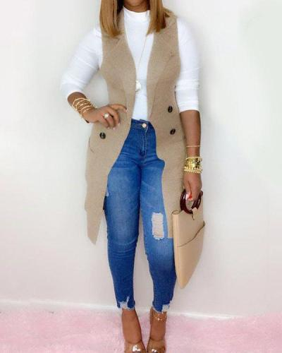 Knit Lapel Vest Cardigan