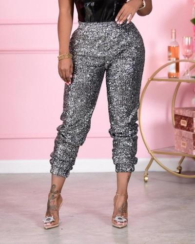 Sequin Jogger Solid Pants