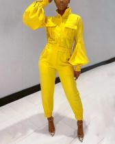 Solid Color Lantern Sleeve Long Sleeve Jumpsuit
