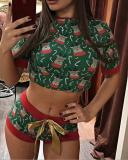 Christmas Living Print Basic Short Sleeve Two Pieces