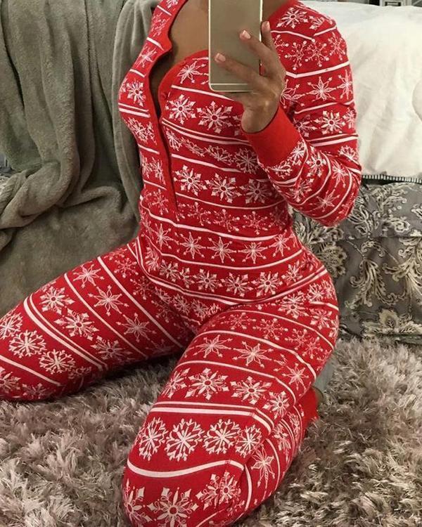 Christmas Print Basic V Neck Skinny Jumpsuits