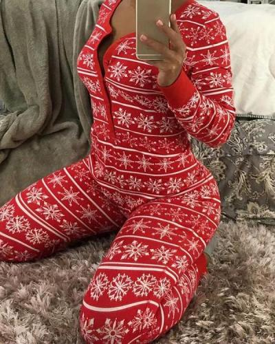 Christmas Print Basic V Neck Skinny Jumpsuits