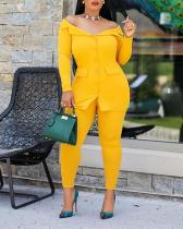 Casual Off-Shoulder Suit Solid Color Two-piece Suit