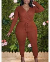 Leisure V Neck Lace-up Brown Plus Size One-piece Jumpsuit