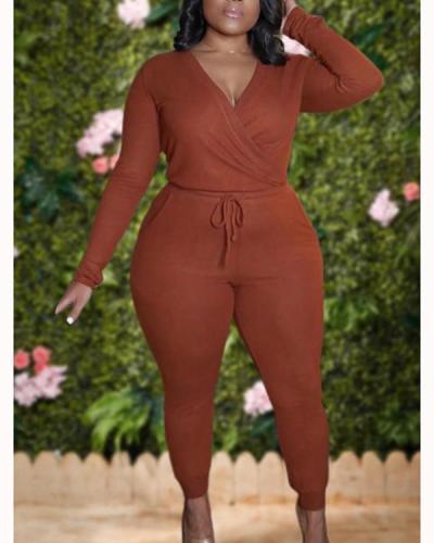 Leisure V Neck Lace-up Brown Plus Size One-piece Jumpsuit