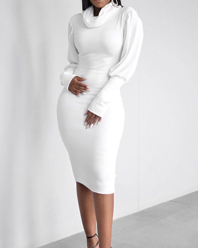 Sexy High Neck Long Sleeve Dress Slim Fit Hip Dress