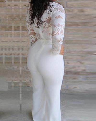 Lace Full Length Plain Slim Straight Women's Jumpsuit