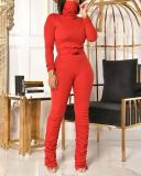 Fashion Slim High Neck Long Sleeve Two-piece Suit